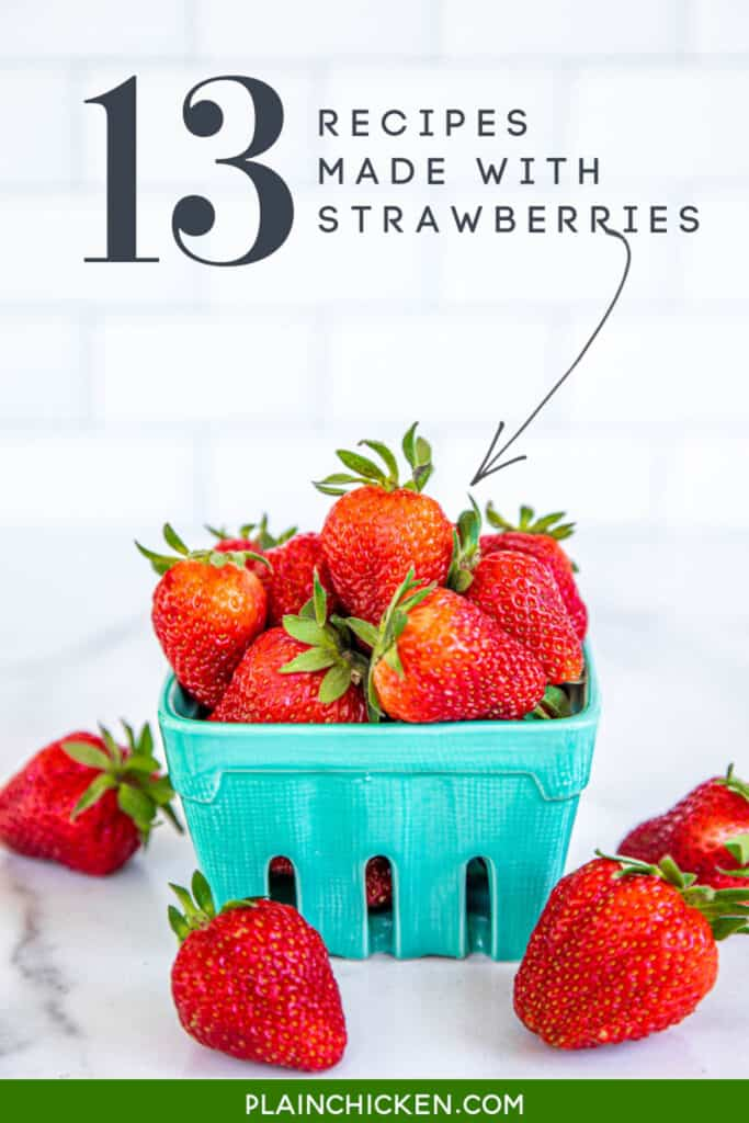 basket of strawberries on the countertop with text overlay