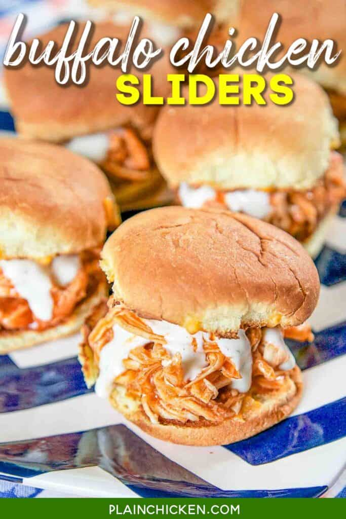 platter of shredded buffalo chicken sandwiches