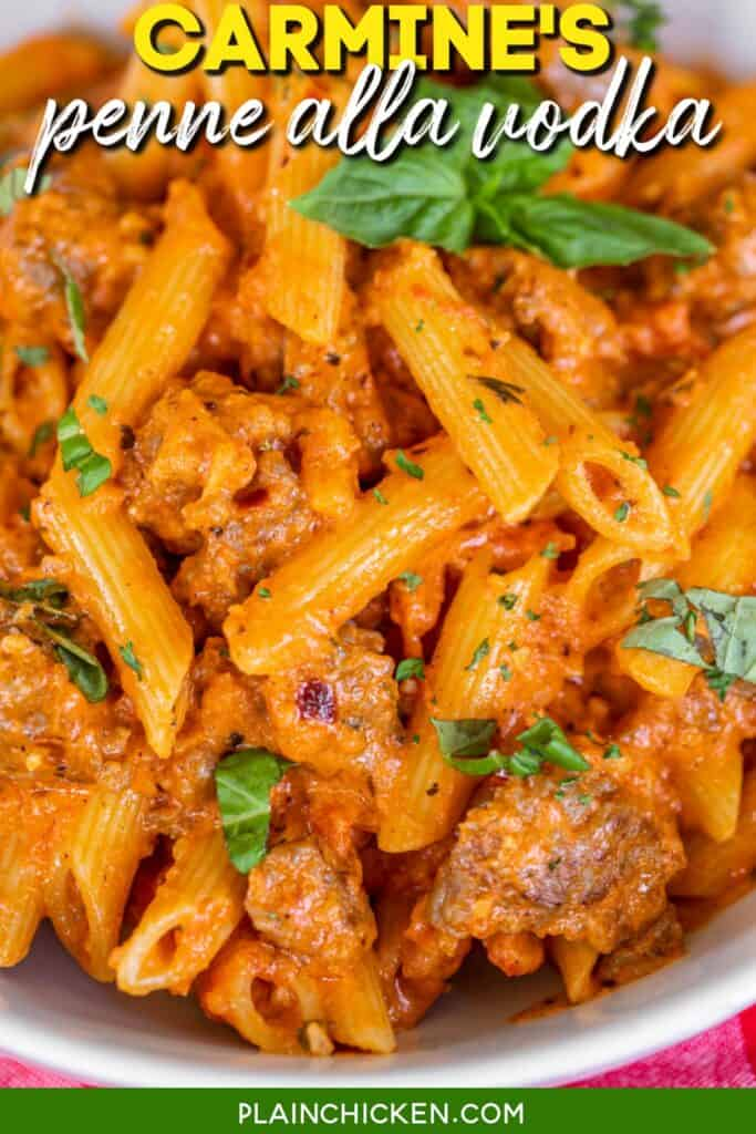 close up of penne pasta with sausage and basil