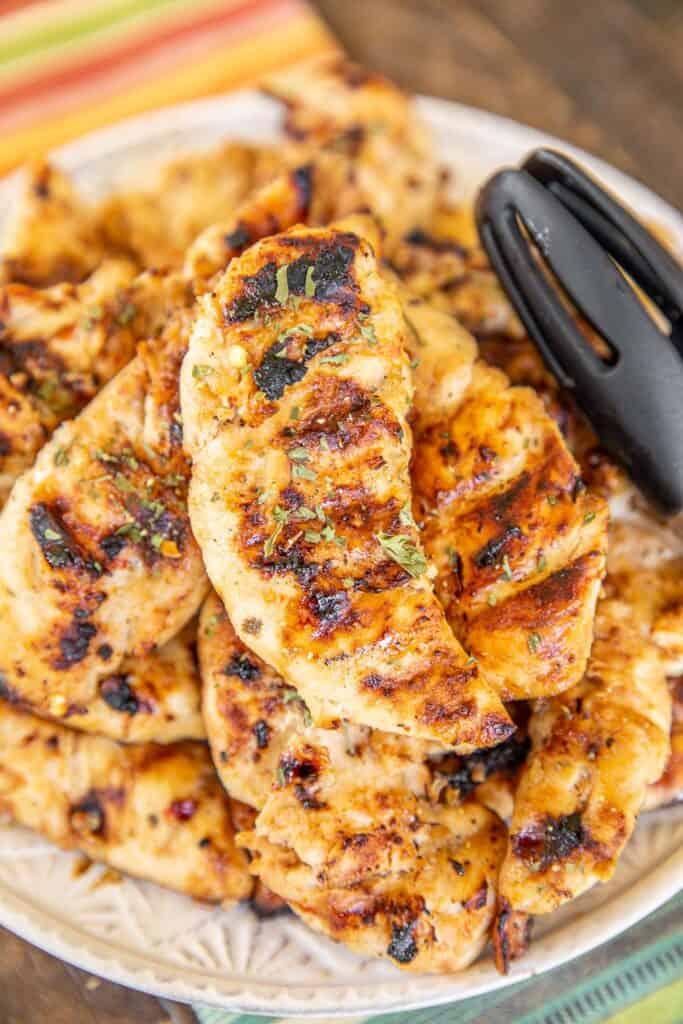 platter of grilled chicken tenders
