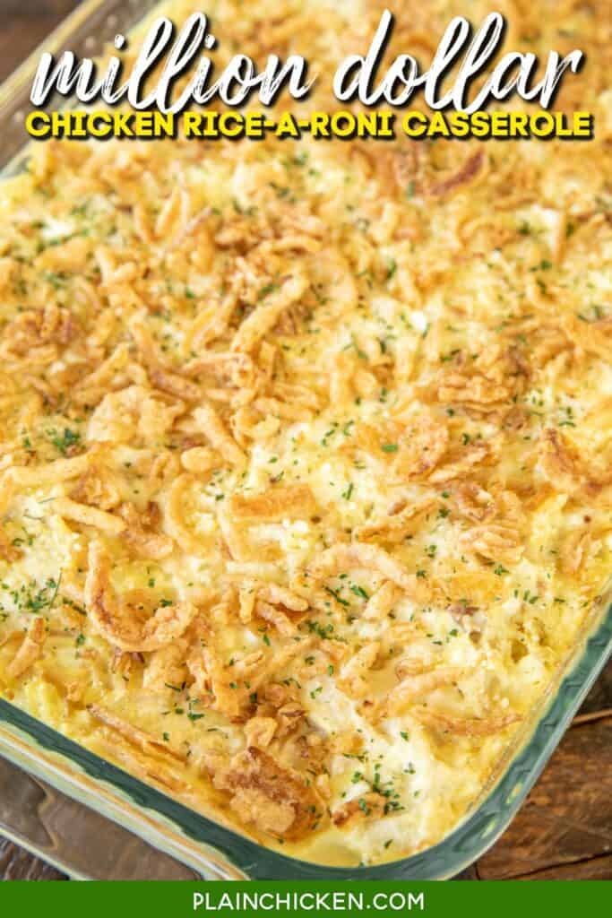 baking dish of chicken and rice casserole