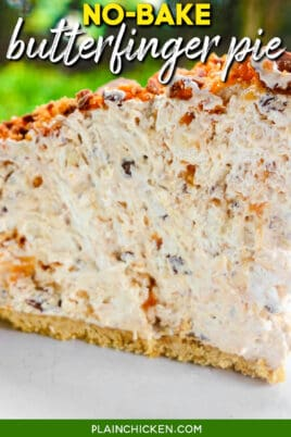 slice of butterfinger pie with text overlay