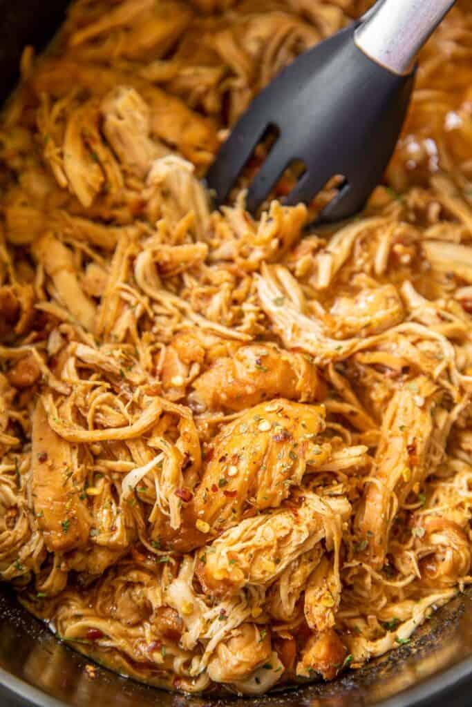 shredded chicken in a crockpot