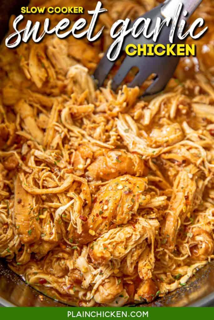 slow cooker of shredded chicken