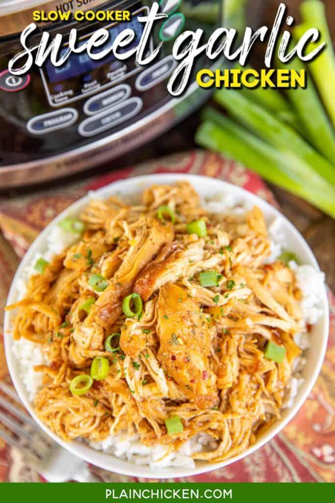 bowl of shredded sweet garlic chicken