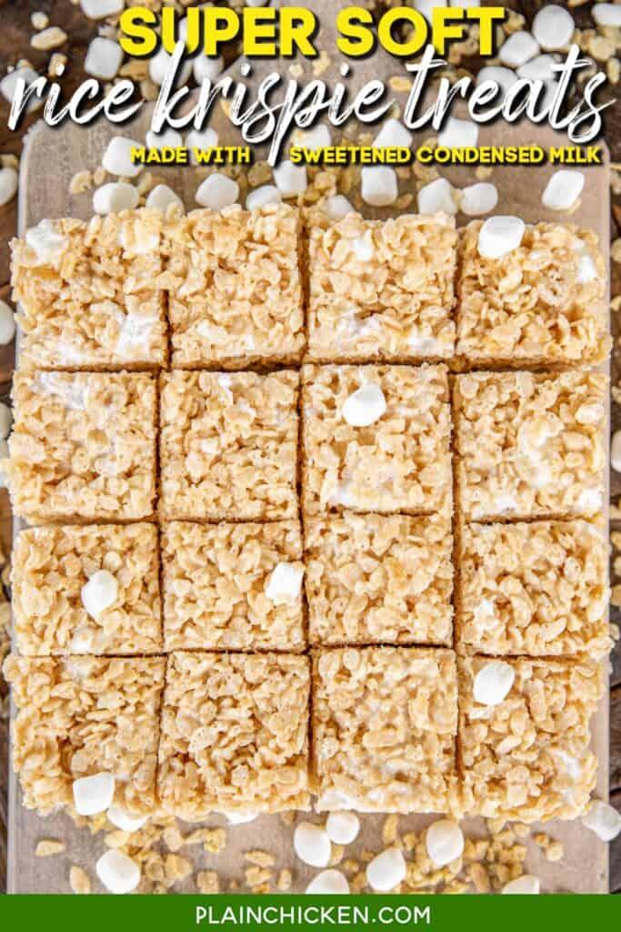 rice krispie treats on a platter