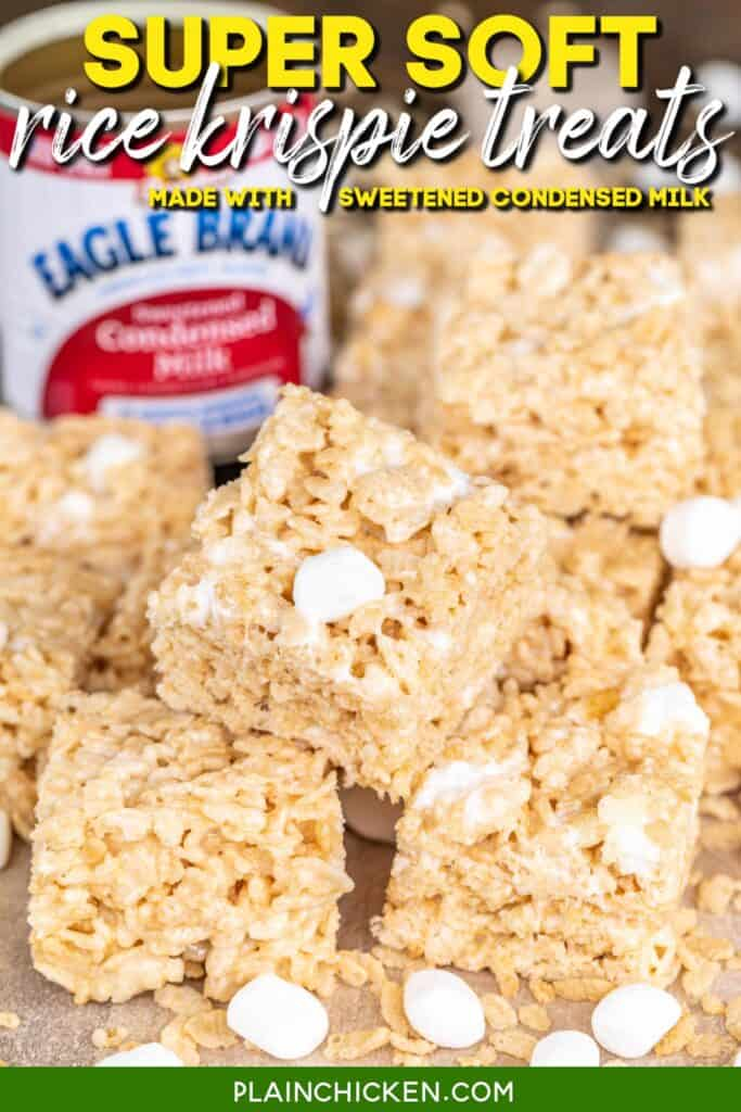 stack of rice krispie treats with marshmallows and krispie cereal