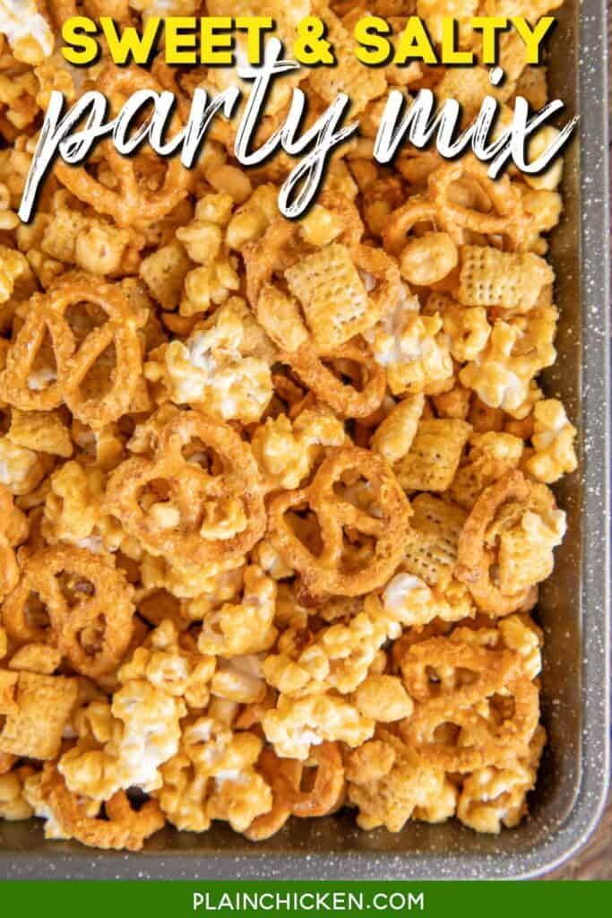 baking pan of sweet chex mix
