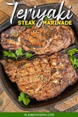 2 steaks in a grill pan