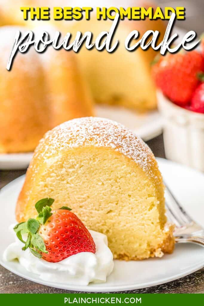 slice of pound cake on a plate topped with whipped cream and strawberries