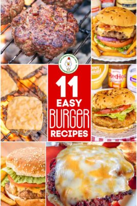 collage of hamburger recipes with text overlay