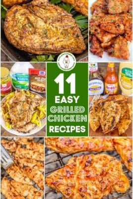 collage of grilled chicken photos with text overlay