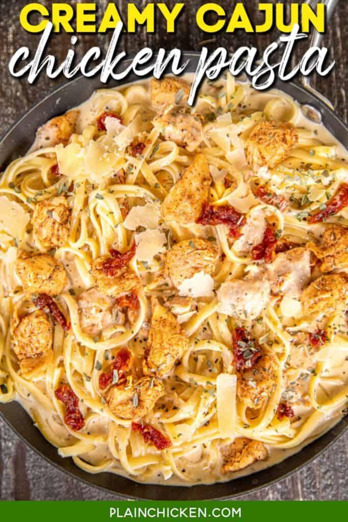 skillet of creamy chicken pasta