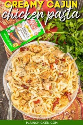 plate of chicken fettuccine pasta with cajun seasoning