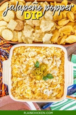 baking dish of dip topped with jalapenos