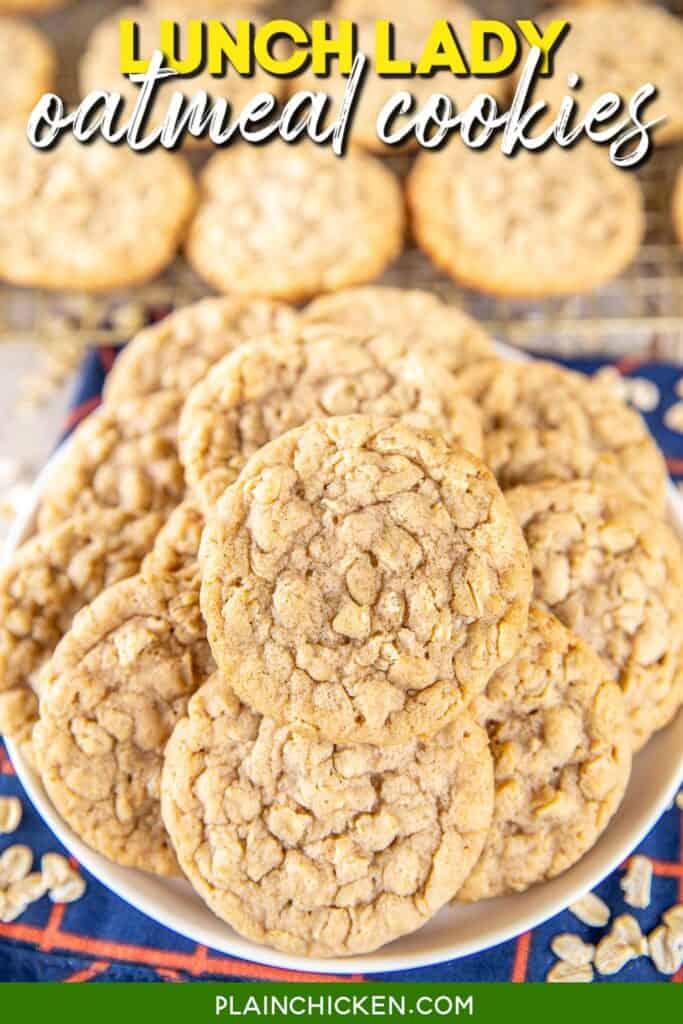 plate of oatmeal cookies