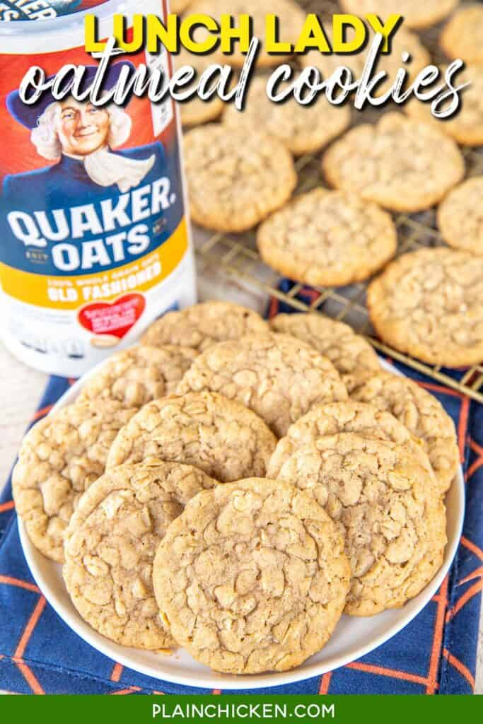 plate of oatmeal cookies with a canister of oatmeal in the background