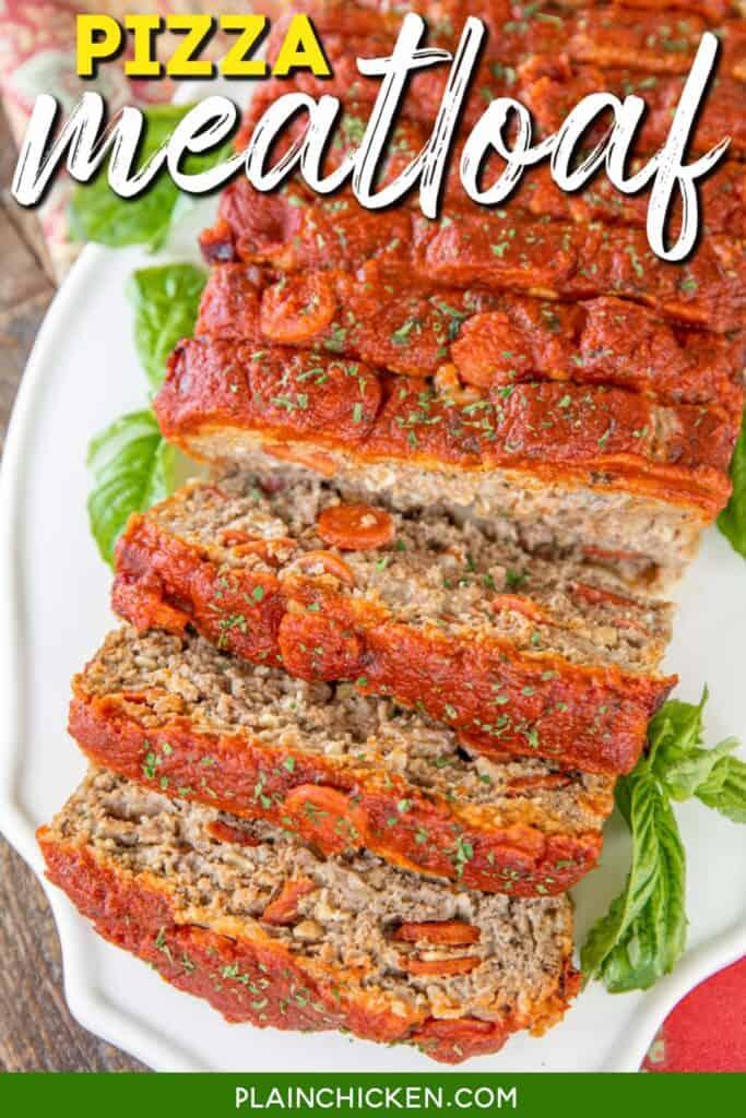 sliced meatloaf on a platter