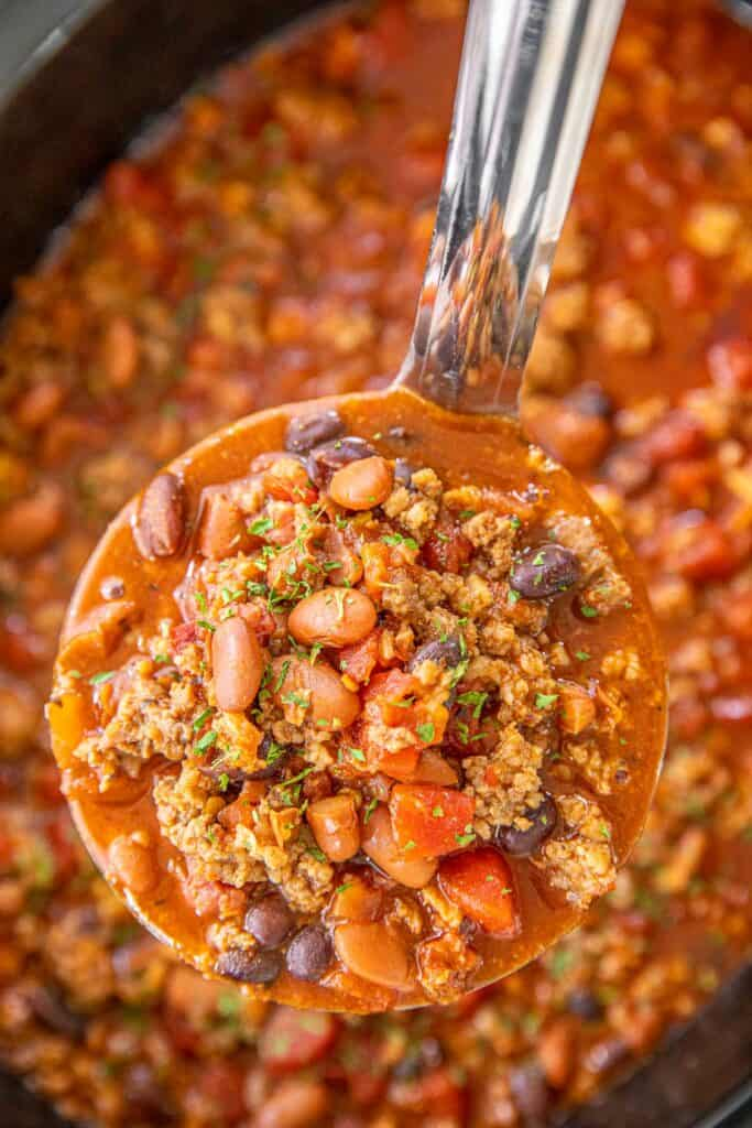 ladle of homemade chili