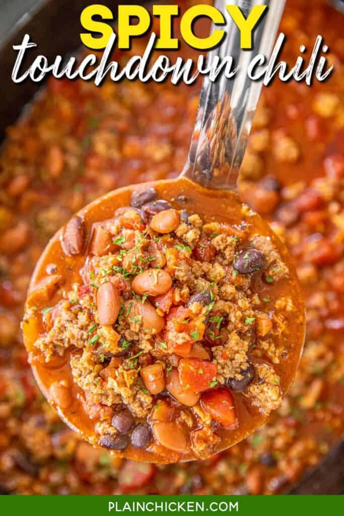 ladle of spicy chili