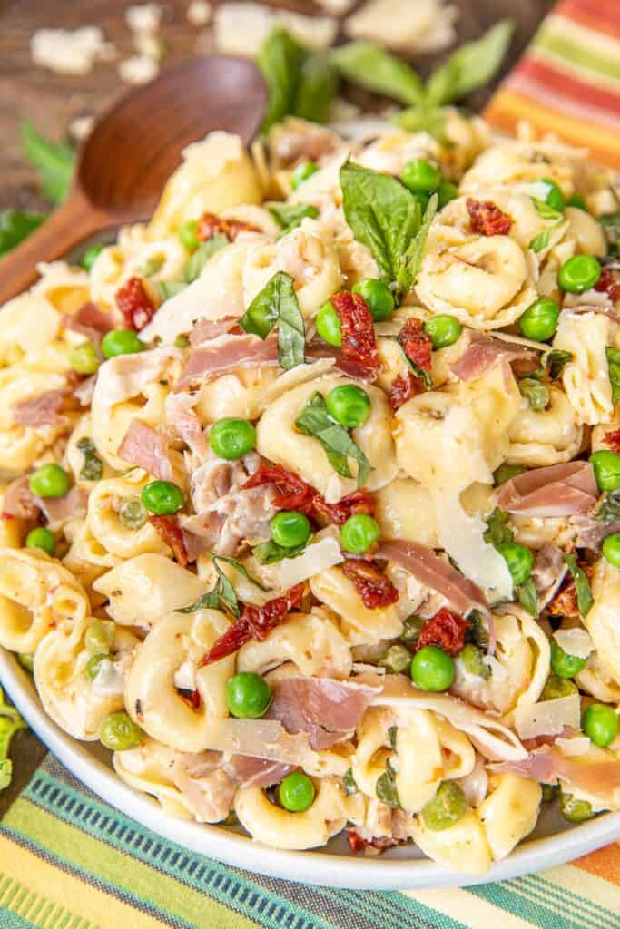 plate of pasta salad with a spoon