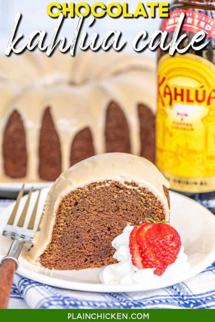 slice of chocolate cake with glaze and strawberries