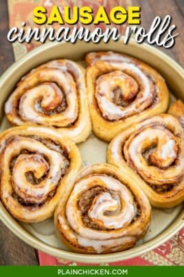 cake pan of cinnamon rolls