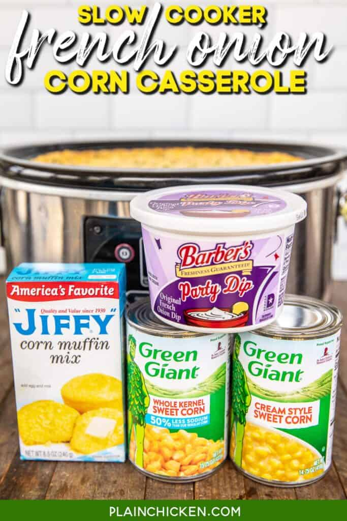corn casserole ingredients in front of slow cooker