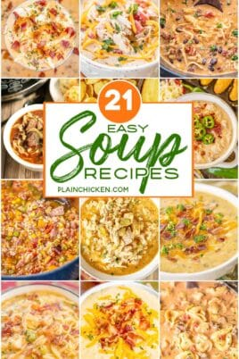 collage of 12 soup photos with text overlay