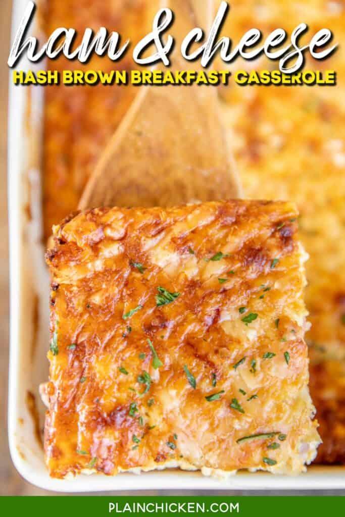 serving ham & cheese breakfast casserole from baking dish