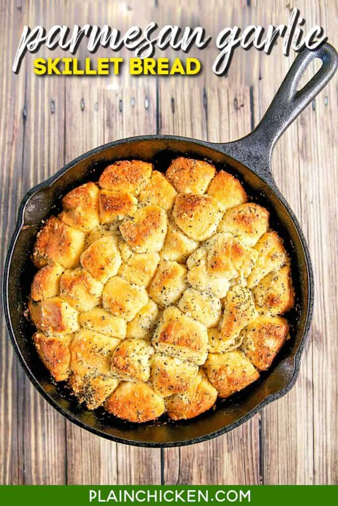 biscuit bread in a cast iron skillet