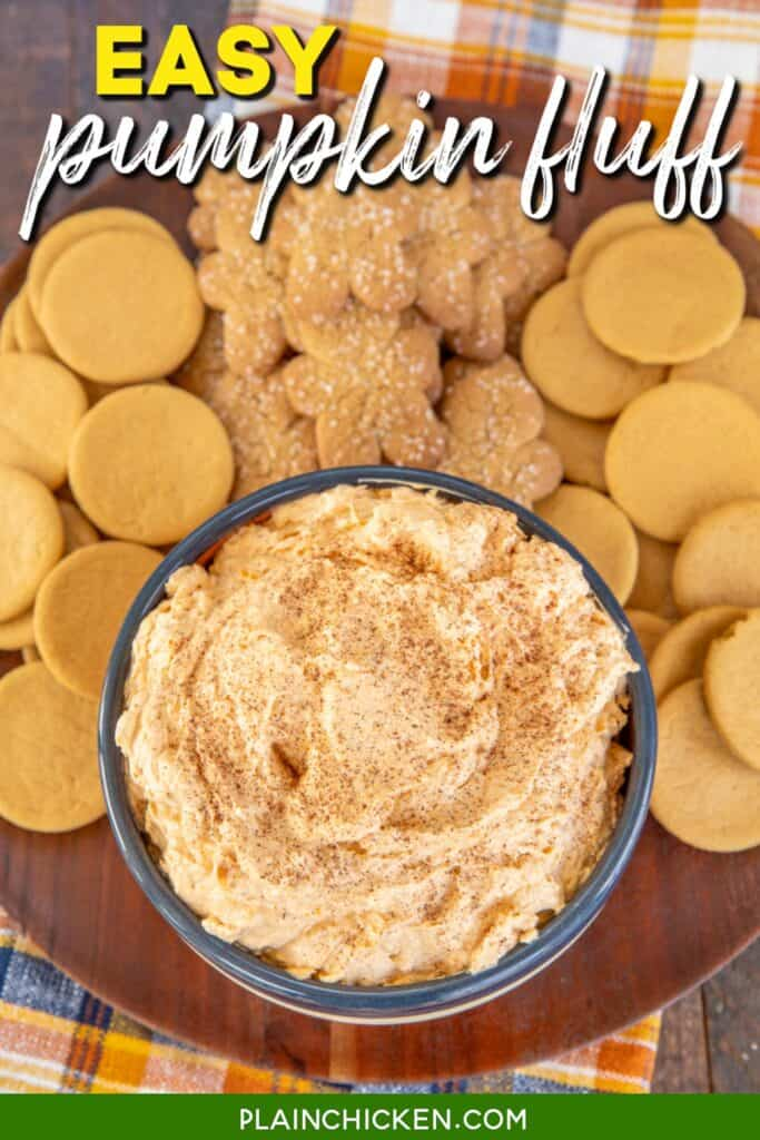 bowl of pumpkin cool whip dip with cookies