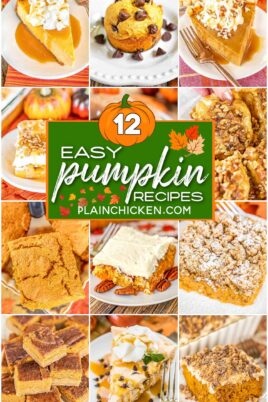 collage of 12 pumpkin food photos with text overlay