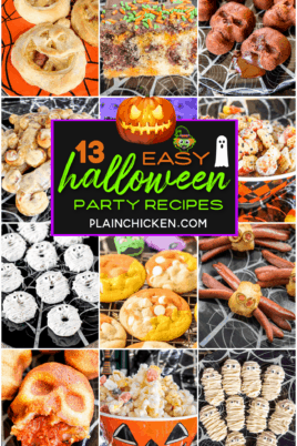 collage of 12 halloween themed food photos with text overlay